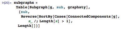 subgraphs = Table[Subgraph[g, sub, graphsty], {sub, Reverse[SortBy[Cases[ConnectedComponents[g], s_ /; Length[s] > 1], Length]]}]