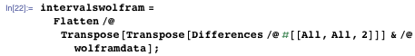 intervalswolfram = Flatten /@Transpose[Transpose[Differences /@ #[[All, All, 2]]] & /@ wolframdata];
