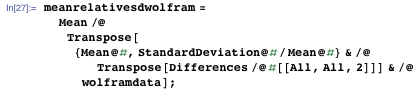 meanrelativesdwolfram = Mean /@ Transpose[{Mean@#, StandardDeviation@#/Mean@#} & /@ Transpose[Differences /@ #[[All, All, 2]]] & /@ wolframdata];