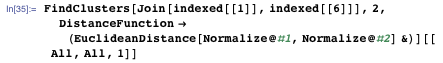 FindClusters[Join[indexed[[1]], indexed[[6]]], 2, DistanceFunction → (EuclideanDistance[Normalize@#1, Normalize@#2] &)][[All, All, 1]]