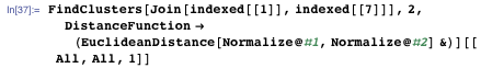 FindClusters[Join[indexed[[1]], indexed[[7]]], 2, DistanceFunction → (EuclideanDistance[Normalize@#1, Normalize@#2] &)][[All, All, 1]]
