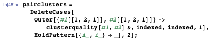 pairclusters = DeleteCases[Outer[{#1[[1, 2, 1]], #2[[1, 2, 1]]} → clusterquality[#1, #2] &, indexed, indexed, 1], HoldPattern[{i_, i_} → _], 2];