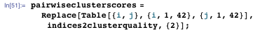 pairwiseclusterscores = Replace[Table[{i, j}, {i, 1, 42}, {j, 1, 42}], indices2clusterquality, {2}];