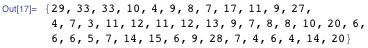 {29, 33, 33, 10, 4, 9, 8, 7, 17, 11, 9, 27, 4, 7, 3, 11, 12, 11, 12, 13, 9, 7, 8, 8, 10, 20, 6, 6, 6, 5, 7, 14, 15, 6, 9, 28, 7, 4, 6, 4, 14, 20}