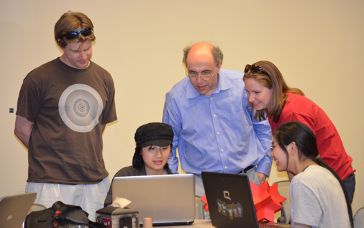 Stephen Wolfram helps out at the Mathematica Summer Camp 2012