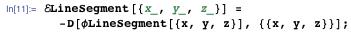 ELineSegment[{x_, y_, z_}] = -D[φLineSegment[{x, y, z}], {{x, y, z}}];