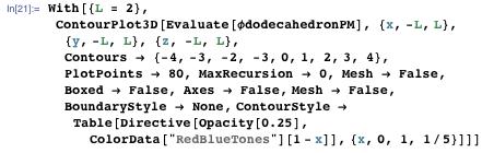 """With[{L = 2}, ContourPlot3D[Evaluate[φdodecahedronPM], {x, -L, L}, {y, -L, L}, {z, -L, L}, Contours → {-4, -3, -2, -3, 0, 1, 2, 3, 4}, PlotPoints → 80, MaxRecursion → 0, Mesh → False, Boxed → False, Axes → False, Mesh → False, BoundaryStyle → None, ContourStyle → Table[Directive[Opacity[0.25], ColorData[""""RedBlueTones""""][1 - x]], {x, 0, 1, 1/5}]]]"""