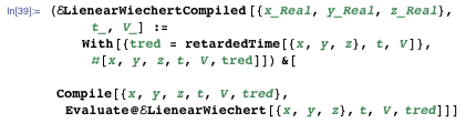 (ELienearWiechertCompiled[{x_Real, y_Real, z_Real}, t_, V_] := With[{tred = retardedTime[{x, y, z}, t, V]}, #[x, y, z, t, V, tred]]) &[Compile[{x, y, z, t, V, tred}, Evaluate@ELienearWiechert[{x, y, z}, t, V, tred]]]