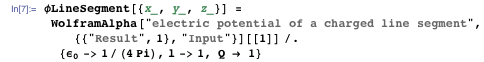 Electric potential of a charged line segment as a Mathematica expression