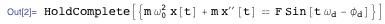 Equation of motion of a classical sinusoidal driven harmonic oscillator