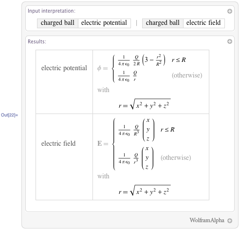 Electric potential, electric field of a charged ball