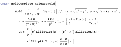 Mathematica expression for the electric potential of a charged disk