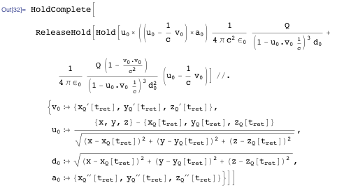 Mathematica form for the electric field of a moving point charge