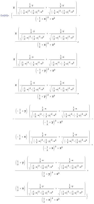 Sum of elementary functions for a rectangular current loop