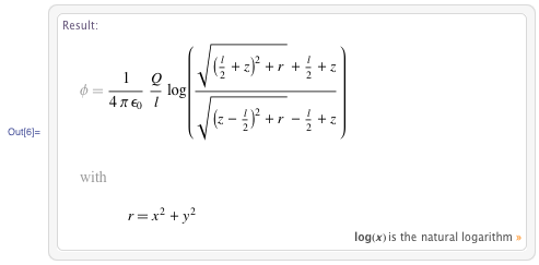 Electric potential of a charged line segment