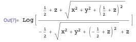 Mathematica expression for the electric potential of a charged line segment