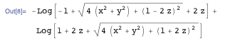 The potential after using Integrate on Poisson's equation