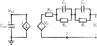 Sketch of a typical schematic for an electrical circuit model of a battery cell