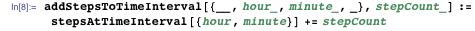 addStepsToTimeInterval[{__, hour_, minute_, _}, stepCount_] := stepsAtTimeInterval[{hour, minute}] += stepCount