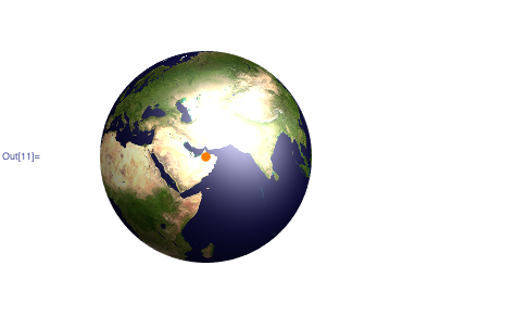 3D plot of the Earth with the location of the satellite