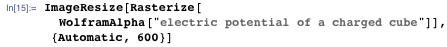 """ImageResize[Rasterize[   WolframAlpha[""""electric potential of a charged cube""""]], {Automatic,    600}]"""