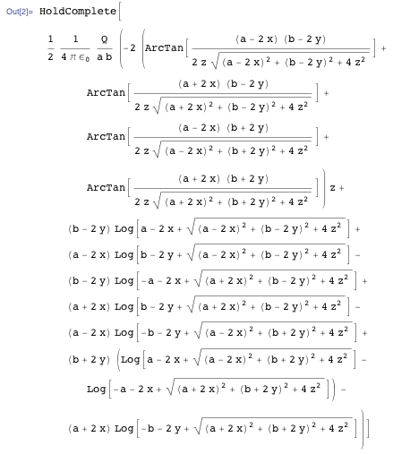 Equation for the electric potential charged rectangle