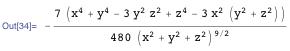(7 (x^4 + y^4 - 3 y^2 z^2 + z^4 - 3 x^2 (y^2 + z^2)))/(480 (x^2 + y^2 + z^2)^(9/2))