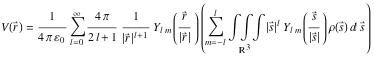 Equation showing the multipole expansion in spherical coordinates
