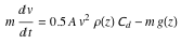 Equation for maximum free fall velocity