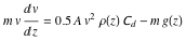 Velocity as a function of altitude
