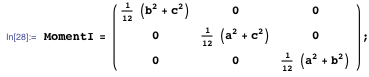 Moment of inertia tensor for a cuboid