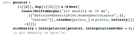Extracting the air density data from Wolfram|Alpha