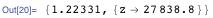 {1.22331, {z → 27838.8}}