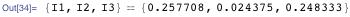 {I1, I2, I3} == {0.257708, 0.024375, 0.248333}