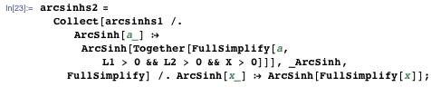 Calculating arcsinhs2