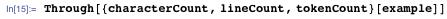 Through[{characterCount, lineCount, tokenCount}[example]]