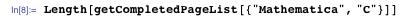 "Length[getCompletedPageList[{""Mathematica"", ""C""}]]"