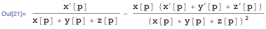 Derivative of the response function with respect to the parameter that is being analyzed