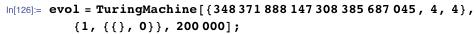 evol = TuringMachine[{348371888147308385687045, 4, 4}, {1, {{}, 0}},     200000];