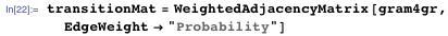 "transitionMat =   WeightedAdjacencyMatrix[gram4gr, EdgeWeight -> ""Probability""]"