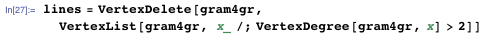 lines = VertexDelete[gram4gr,    VertexList[gram4gr, x_ /; VertexDegree[gram4gr, x] > 2]]