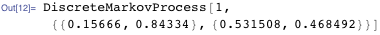 DiscreteMarkovProcess[1, {{0.15666, 0.84334}, {0.531508, 0.468492}}]