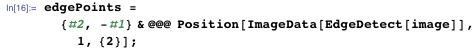 edgePoints = {#2, -#1} & @@@     Position[ImageData[EdgeDetect[image]], 1, {2}];