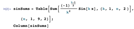 Finding the sequence of sine functions