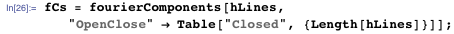 """fCs = fourierComponents[hLines,     """"OpenClose"""" → Table[""""Closed"""", {Length[hLines]}]];"""