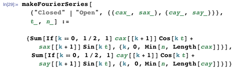 Multiplying the Fourier coefficients by cos(k t) and sin(k t) and summing the terms