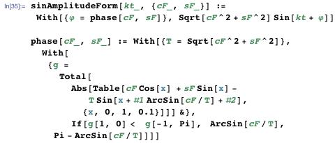 Using the function sinAmplitudeForm