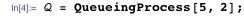 Q = QueueingProcess[5, 2];