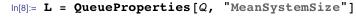 "L = QueueProperties[Q, ""MeanSystemSize""]"