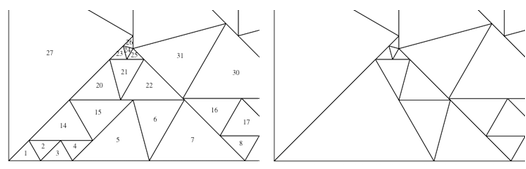Comparison of the 64 triangle example and 50 triangle example